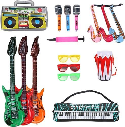 Herefun 16 PCS Inflatables Guitare Microphone Saxophone Tambour, Instruments de Musique Gonflables Accessoires pour A...