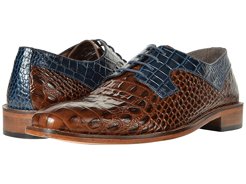 Stacy Adams Garelli Croc Print Oxford (Cognac/Dark Blue) Men