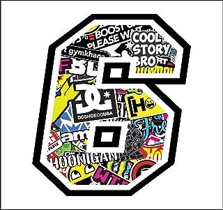 Sticker Number 6 Race 12 cm   Sticker Bomb   Rennen Cross Track Auto Motorrad Aufkleber