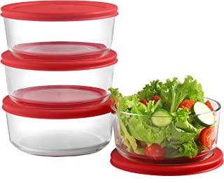 Glass Food Storage Containers with Red Airtight Lids 24oz (Set of 4) | 6 x 2.5 Inch Small Round Mixing Bowls for Meal Prep, Leftovers, Baking, Cooking & Lunch | BPA-Free Kitchen Items
