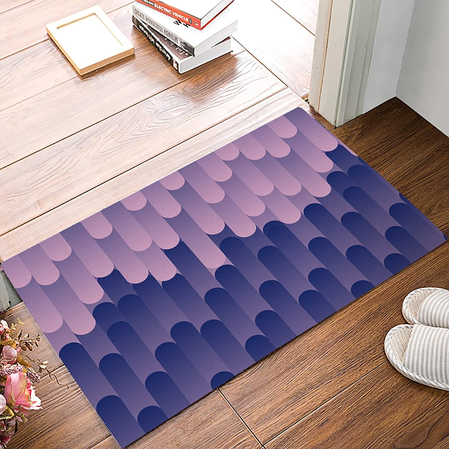 Findamy Non-slip Door Mat Entrance Rug Rectangle Absorbent Moisture Floor Carpet for Indoor Outdoor bluee Purple Irregular Cylinder Pattern Doormat 20x31.5 inch by
