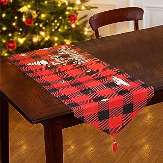 Tacobear Chemin de Table Noël pour Décoration Noël Nappe Noel Rouge Bonhomme de Neige Fleur à Carreaux Linge de Table pour...