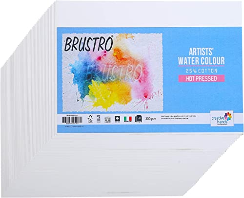 Brustro Artists' Watercolour Paper 25% Hot Pressed 300 GSM -50 Sheets. Size 10 cm X 14 cm
