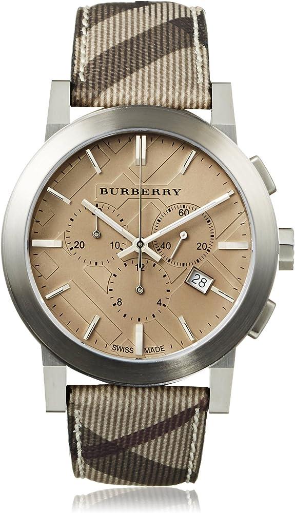 Burberry, orologio, cronografo da uomo, cassa in acciaio inossidabile e cinturino in pelle BU9361