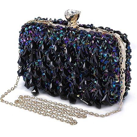 Abendtasche Damen Diamant Clutch Bag Kette Shiny Strass Handtasche Umhängetasche für Hochzeit Party - Dunkelblau(Dreieck Diamantkopf)
