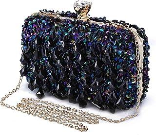 Abendtasche Damen Diamant Clutch Bag Kette Shiny Strass Handtasche Umhängetasche für Hochzeit Party - Dunkelblau(Dreieck D...