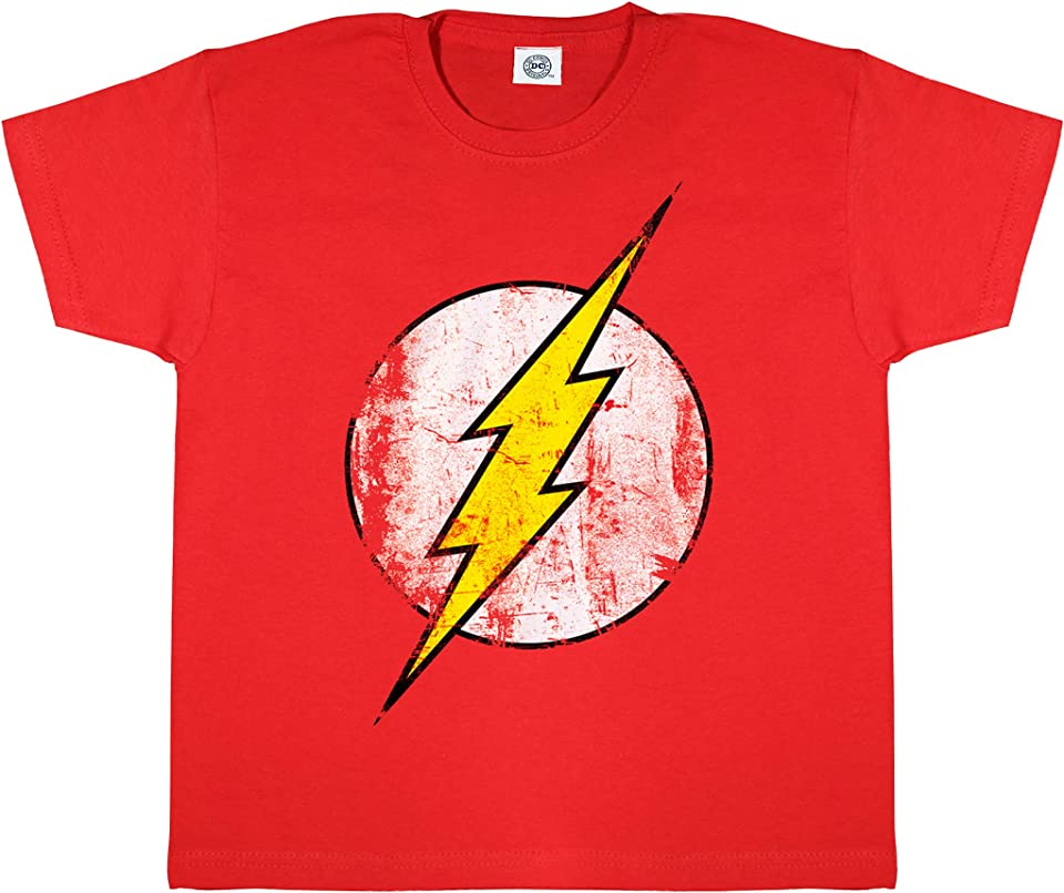 DC Comics The Flash Distressed Logo Boys T-Shirt | Official Merchandise | Ages 3-15, DC Comics Gifts, Justice League Boys Fashion Top, Childrens Clothes, Kids Birthday Gift Idea