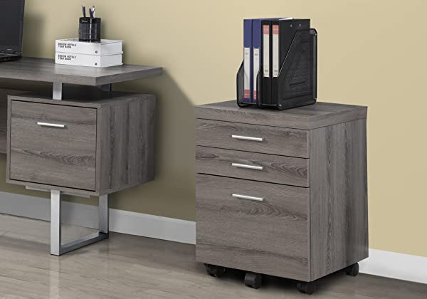 Monarch Specialties 3 Drawer File Cabinet Filing Cabinet Dark Taupe