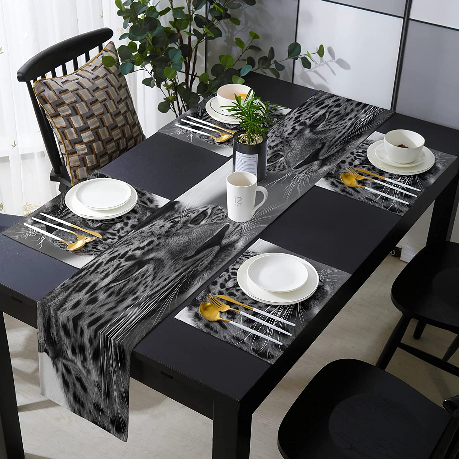 KAROLA Table Runner and Placemats Set Dinin Latest item 4 of Leopard Easy-to-use Kitchen