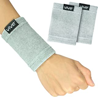 Vive Wrist Sweatbands (Pair) - Bamboo Charcoal Compression Wristband - Athletic Support for Carpal Tunnel Pain Relief, Arthritis, Tendonitis and Tennis - Left and Right Sleeves