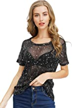 Women See Through Short Sleeve Shimmer Mesh Tee Shirts Mesh Tops Clubwear (Style 2, S)