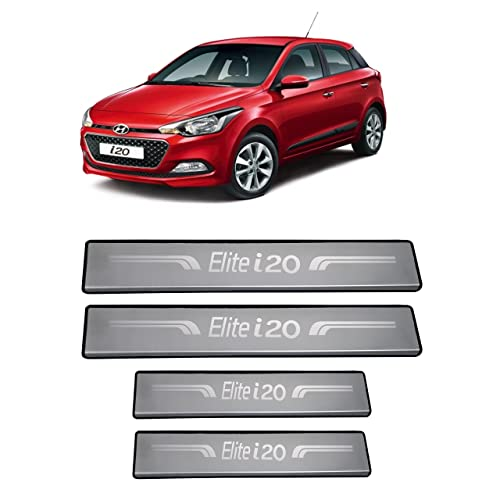 AutoPop Silver Non-led Footstep Door Sill Plate for Hyundai Elite I20 (Set of 4)