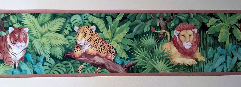 Bombing new work Jungle Cats Animals Wallpaper Border Cheetahs Inexpensive - Lions Tigers