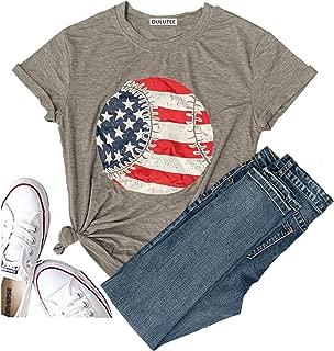 Women Faith Family Freedom USA American Flag Short Sleeve Graphic Tees Baseball Funny T Shirts Summer Tops Blouse