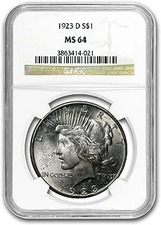 1923 D Peace Dollar MS-64 NGC $1 MS-64 NGC