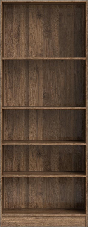 Tvilum 71777dj Element Tall Wide 5 Shelf Bookcase, Walnut