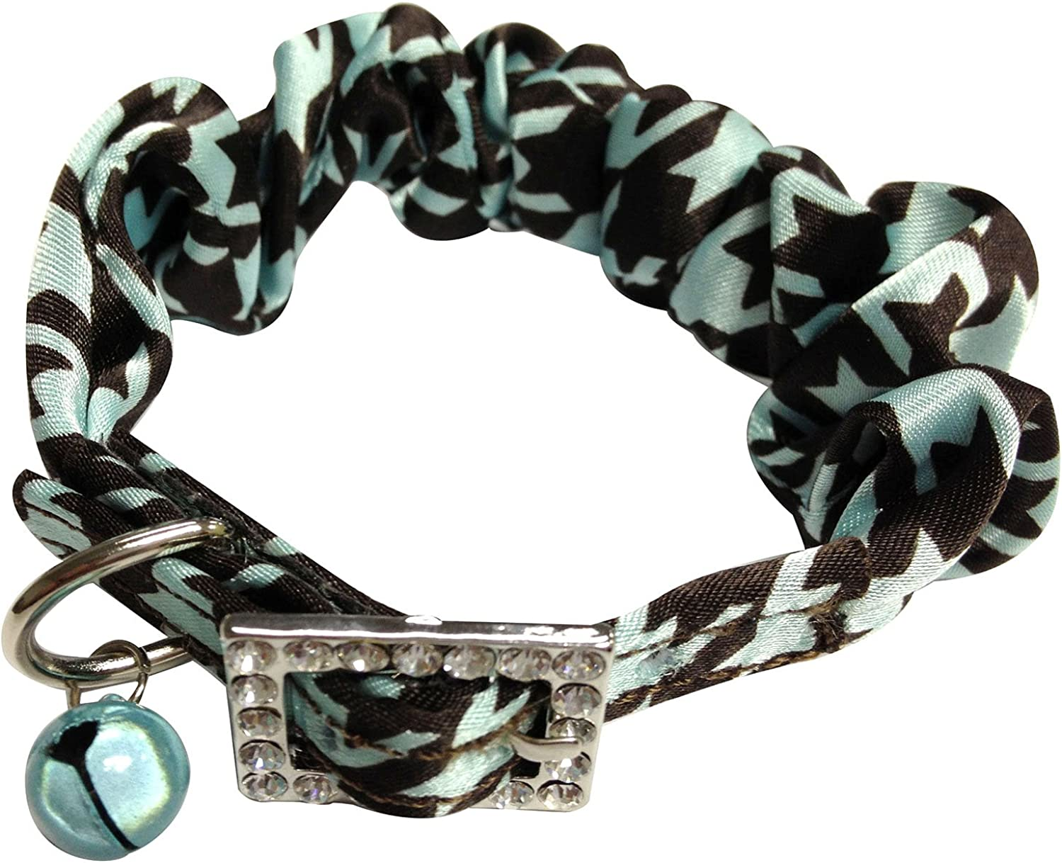 Houndstooth Cat Collar by Catspia  Aqua