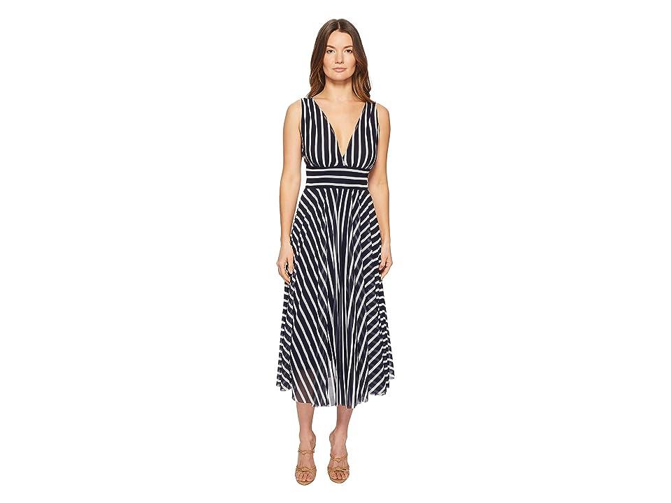FUZZI Stripe V-Neck Dress (Zaffiro) Women