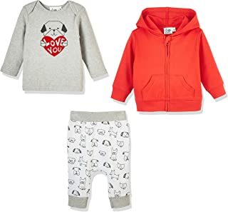 Silly Apples Baby Toddler Boys or Girls Pure Cotton 3-Piece Hoodie Jacket, T-Shirt and Pant Outfit Set