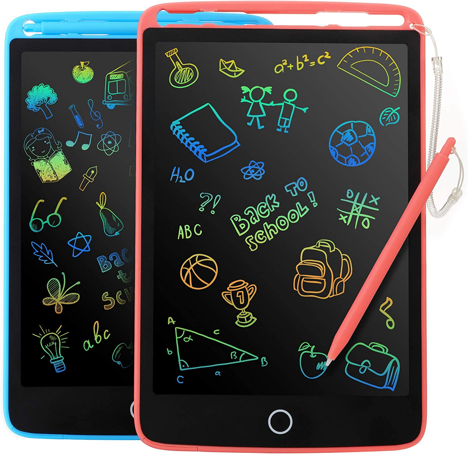 2 Pack LCD Writing Tablet for Kids - Colorful Screen Drawing Board 8.5inch Doodle Scribbler Pad Learning Educational Toy - Gift for 3-6 Years Old Boy Girl (Blue/Pink)