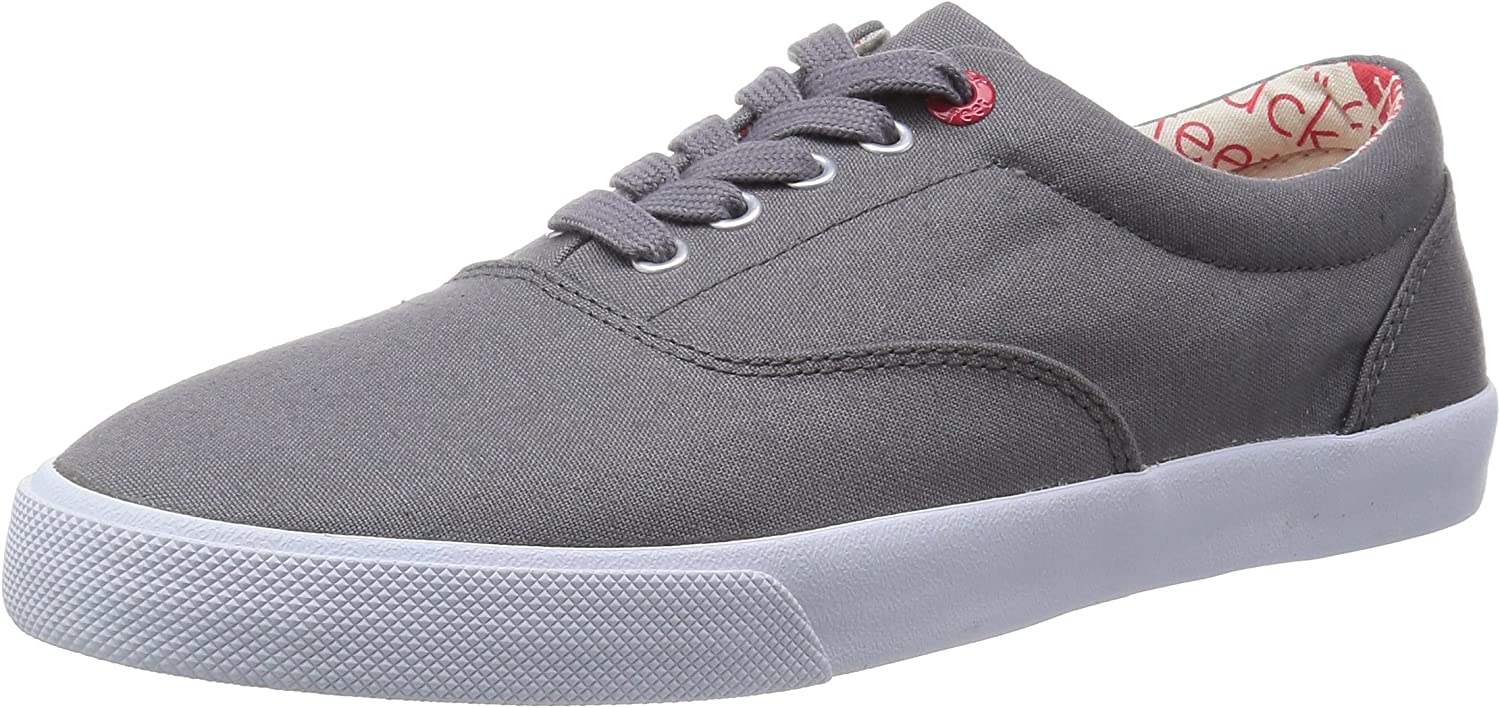 Bucketfeet Men's Basic Lace-Up Lace Down Canvas Fashion Sneakers (Charcoal)