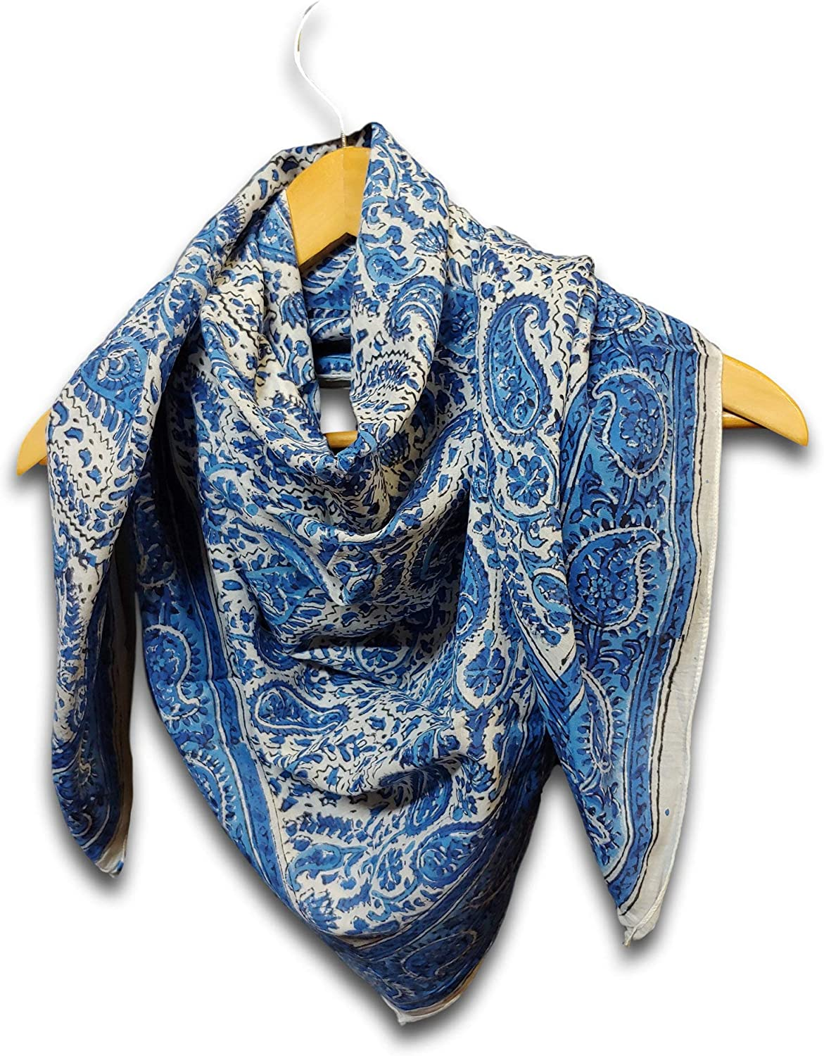 Large Cotton Scarfs for Women Lightweight Soft Sheer Neck Scarf Head Scarf Block Print Summer Floral Scarf Bandanas for Women Handmade Blue Fashion Scarf Square Shawl Stole Wrap (Blue, 42 x 42 inches)