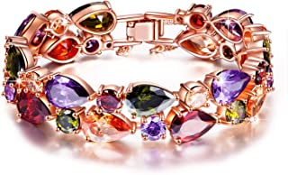 QIANSE Bracelets Gifts for Her for Women Mona Lisa Rose Gold Plated Bracelet Multicolor Cubic Zirconia Bracelets for Women...