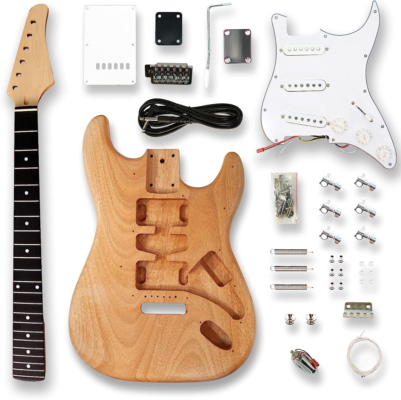 BexGears Electric Guitar Kits Okoume comp Arlington Mall maple wood neck Ultra-Cheap Deals Body