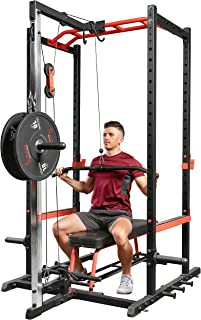 Sunny Health & Fitness Lat Pull Down Attachment Pulley System for Power Racks – SF-XF9927
