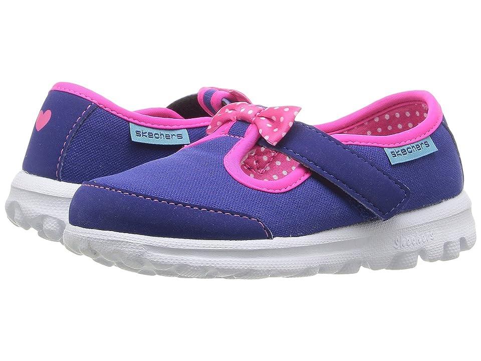 SKECHERS KIDS Go Walk Bitty Bow (Toddler/Little Kid) (Blue/Hot Pink) Girl