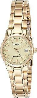 ساعة انالوج من الستانلس ستيل بمينا ذهبي للنساء من كاسيو - LTP-V002G-9AUDF