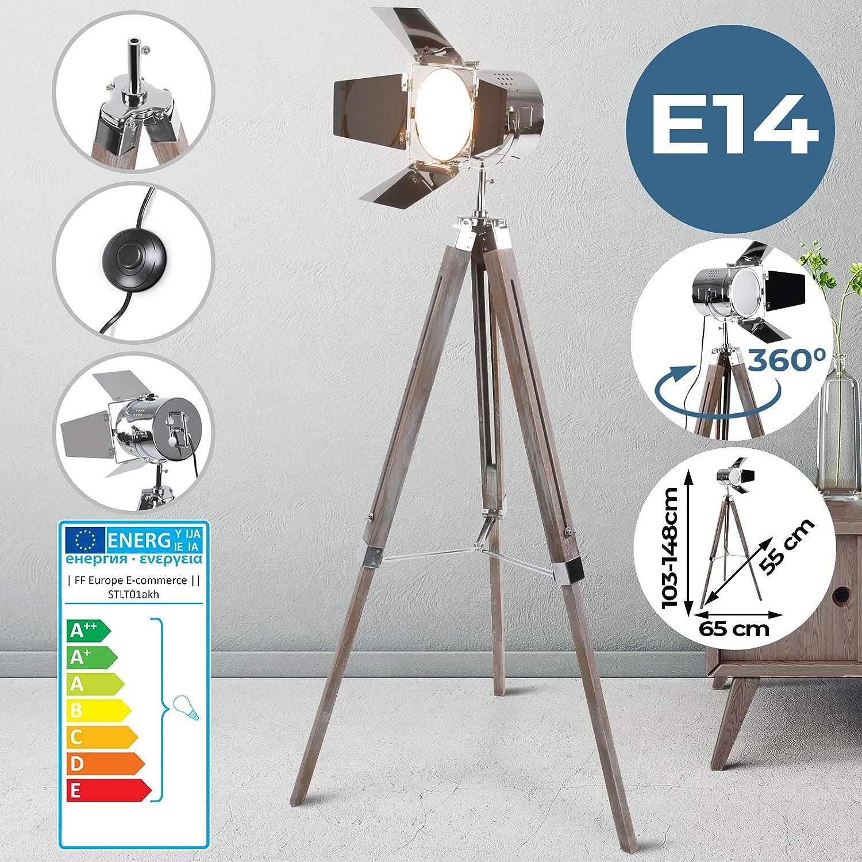 Stehlampe mit Stativ aus Holz  EEK  A++ bis E, E14, Hhenverstellbar max. 148 cm, Vintage, Retro  Tripod lampe, Dreifuss Stehleuchte, Standleuchte, Studiolampe  für Wohnzimmer, Schlafzimmer, Büro