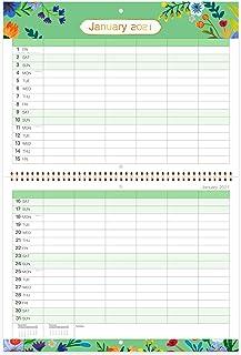 Calendario de pared 2021 / Organizador familiar 2021 con bolsillo interior, encuadernación con dos alambres, papel grueso ...