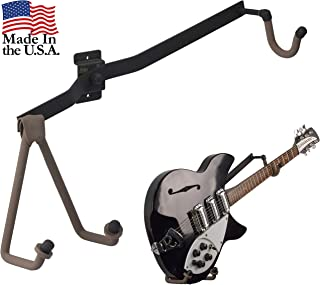 String Swing Guitar Holder Horizontal Low-Profile Narrow-Body for Flat Wall Mount Bass and Electric Guitars- 1 Piece Unit CC151-LPN-FW