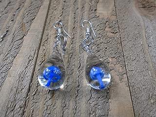 BEACH HEMP JEWELRY Dark Blue Glass Mushroom Earrings Drop Charm Dangles Handmade In USA