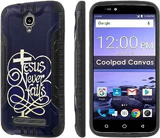 [Cricket] Coolpad Canvas 3636A [Slickcandy] [Black/Black] Dual Layer Protection Brush Metal Texture [Phone Case] - [Jesus Never Fail]