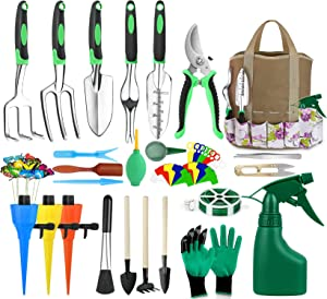 MCIRCO 63 Piece Garden Tools Set Succulent Tools Set, 63 Piece Heavy Duty Aluminum Gardening Tools with Storage Organizer,Hand Tool Kit, Manual Garden Kit, Gifts for Father's Day