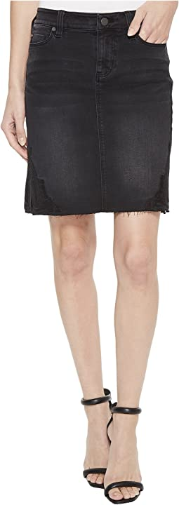 Slit Hem Skirt in Soft Stretch Denim in Carbon Wash
