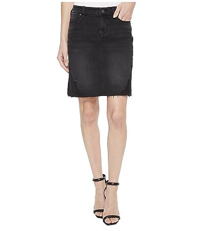 Liverpool Slit Hem Skirt in Soft Stretch Denim in Carbon Wash (Carbon Wash) Women
