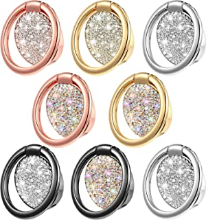 8 Pieces Phone Ring Holder Glitter Bling Finger Ring Holder Stand Kickstand Foldable Cellphone Stand Phone Ring Grip Compa...