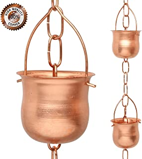 Marrgon Copper Rain Chain – Decorative Chimes & Cups Replace Gutter Downspout & Divert Water Away from Home for Stunning Fountain Display – 8.5' Long for Universal Fit – Pot Style