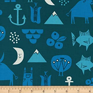 Cotton + Steel Blue Christian Robinson Spectacle Adventure Fabric by The Yard