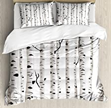 Ambesonne Birch Tree Duvet Cover Set, Forest Seasonal Nature Woodland Leafless Branches Grove Botany Illustration, Decorative 3 Piece Bedding Set with 2 Pillow Shams, Queen Size, Black and White
