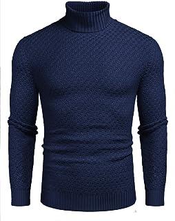 JINIDU Men's Basic Ribbed Thermal Knitted Jumper Slim Fit Turtleneck Jumper