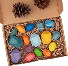 Wooden Colored Stone Jengas,Jengas-Baby Wooden Building Blocks Colorful Stone Creative Educational Toys,Natural Balancing ...