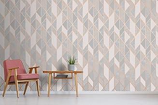 Graham & Brown Milan Geo Rose Gold and Grey Wallpaper, 1000cm length x 52cm wide