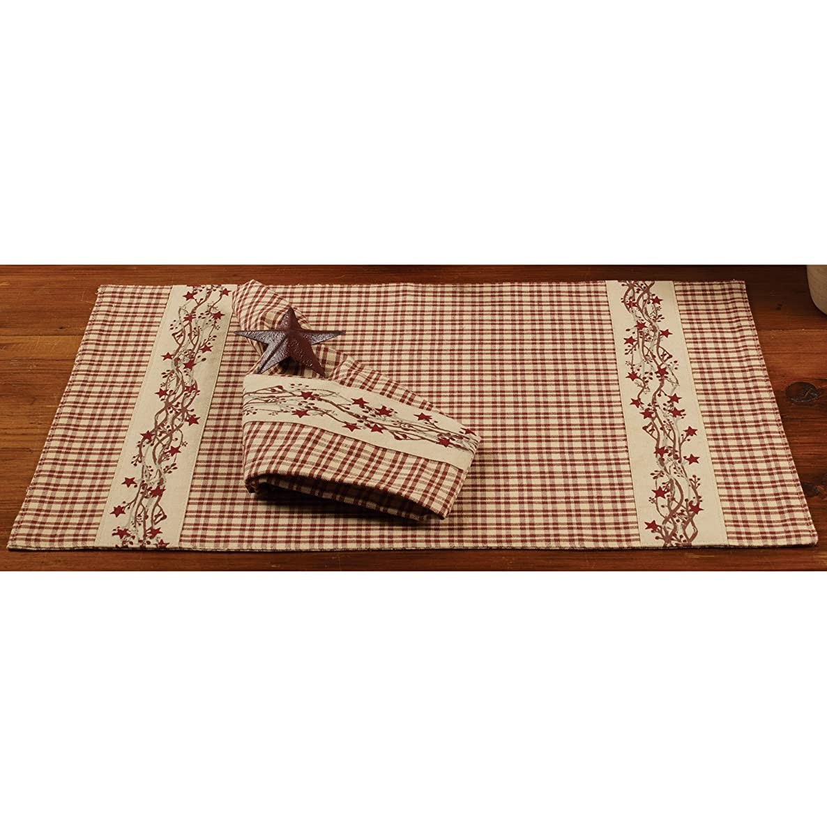 Farmhouse Berry Country Plaid 13 x 19 Cotton Embroidered Appliqued Placemats Set of 4
