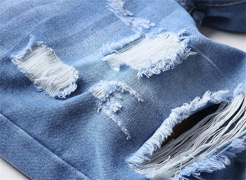 Men's Ripped Denim Shorts Washed Distressed Slim Jean Short Hole Vintage Stylish Knee Length Straight Jeans Short (Blue,28)