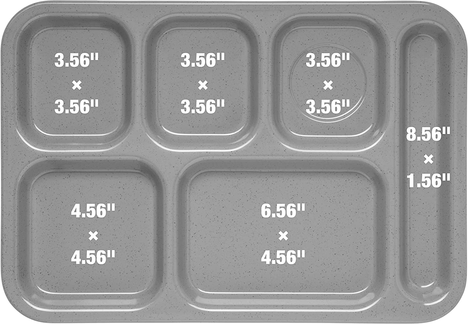 Carlisle P614R14 Polypropylene Right-Hand Six Compartment Tray, 14.37