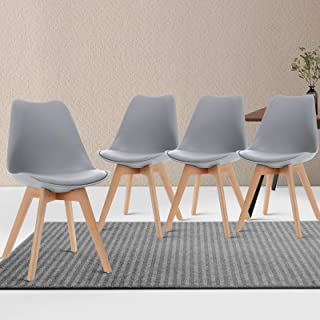 Artiss Eames Dining Chairs Set of 4, Plastic Leather Wooden Dining Chairs, Grey